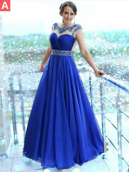 A-Line/Princess Bateau Floor-Length Beading Chiffon Dress