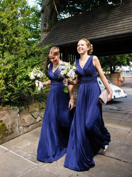 A-Line/Princess V-neck Pleats Chiffon Floor-Length Bridesmaid Dress