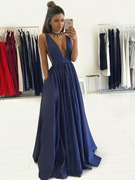 A-Line/Princess V-neck Floor-Length Taffeta Dress