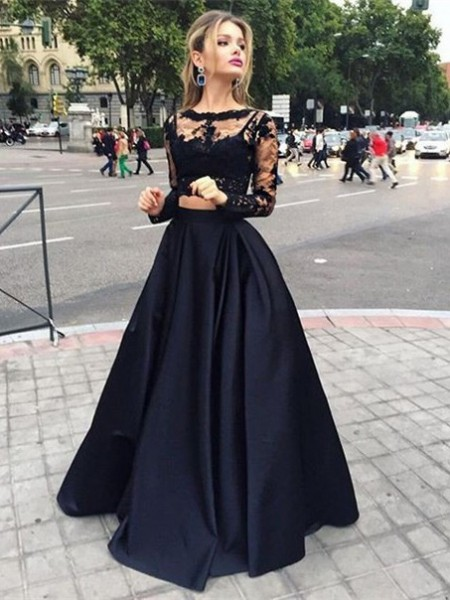Ball Gown Long Sleeves Bateau Satin Floor-Length Dress