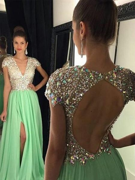 A-Line/Princess V-neck Chiffon Sequin Floor-Length Dress