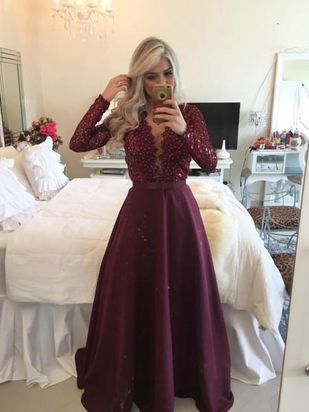 A-Line/Princess Scoop Long Sleeves Sequin Floor-Length Satin Dress