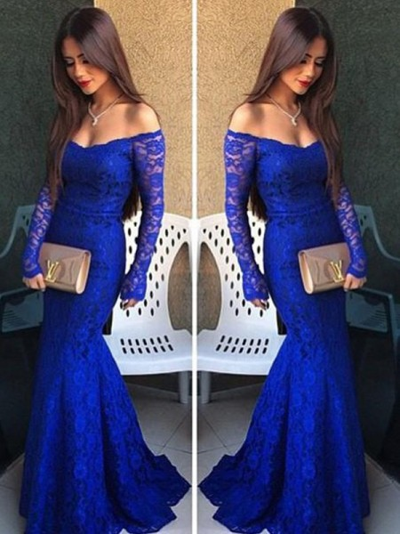 Trumpet/Mermaid Off-the-Shoulder Long Sleeves Lace Floor-Length Dress