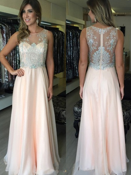 A-Line/Princess Scoop Floor-Length Chiffon Dress