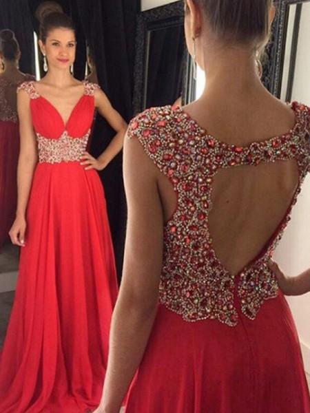 A-Line/Princess V-neck Floor-Length Chiffon Dress