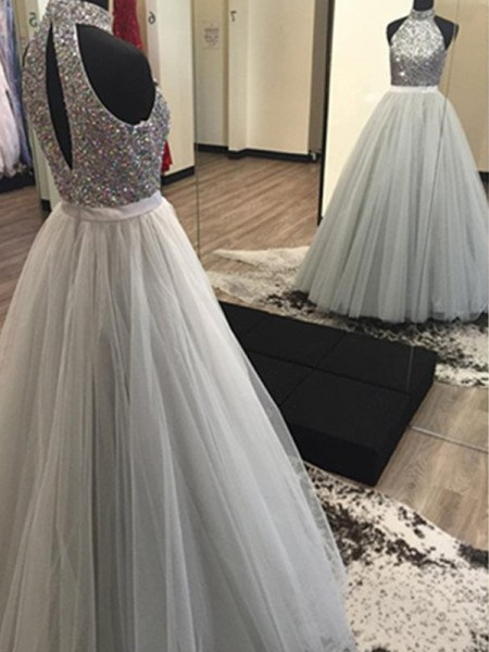 A-Line/Princess Halter Floor-Length Tulle Dress