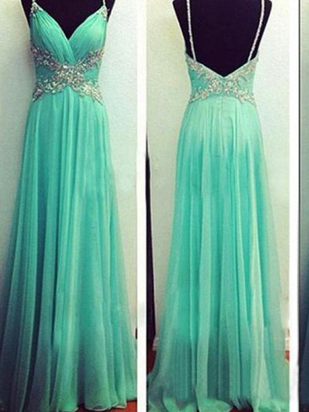 A-Line/Princess Spaghetti Straps Beading Sleeveless Floor-Length Chiffon Dresses