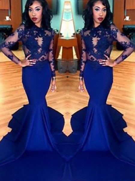 Trumpet/Mermaid Scoop Lace Elastic Woven Satin Long Sleeves Sweep/Brush Train Dresses
