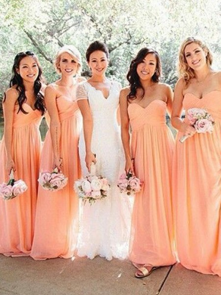 A-Line/Princess Sweetheart Floor-Length Ruched Chiffon Bridesmaid Dress