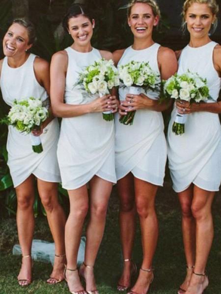 Sheath/Column Chiffon Scoop Short/Mini Bridesmaid Dress