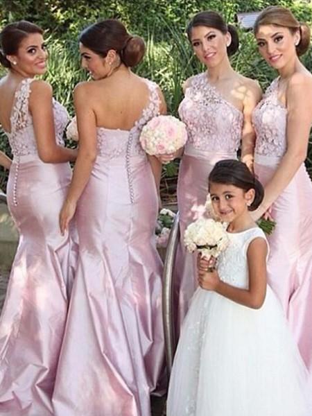 Trumpet/Mermaid One-Shoulder Satin Floor-Length Bridesmaid Dress