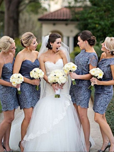 Sheath/Column Lace Short/Mini Bridesmaid Dress
