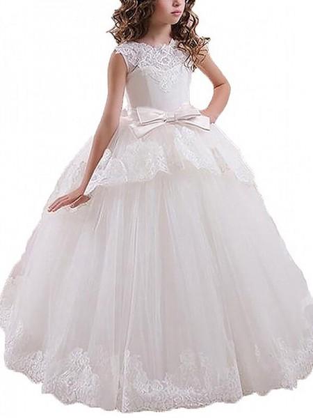 Ball Gown Scoop Sash/Ribbon/Belt Floor-Length Tulle Flower Girl Dress