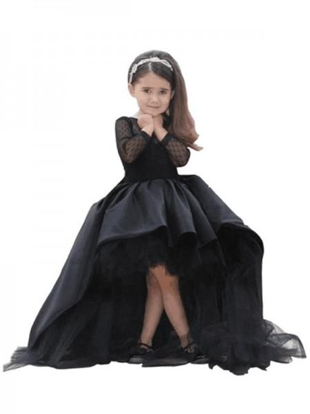 bbfedbc4cb0 Ball Gown Scoop Long Sleeves Sweep Brush Train Satin Flower Girl Dresses