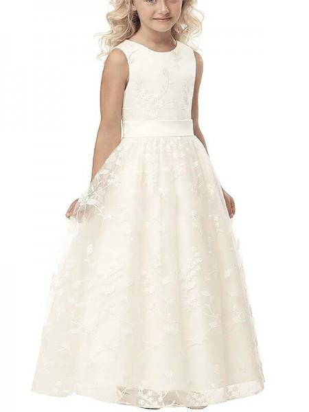 A-line/Princess Scoop Applique Tulle Floor-Length Flower Girl Dress
