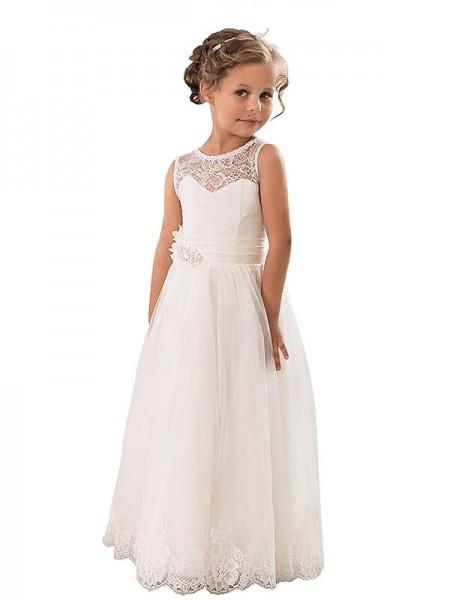 1b6e6dc802 A-line Princess Scoop Tulle Floor-Length Flower Girl Dress