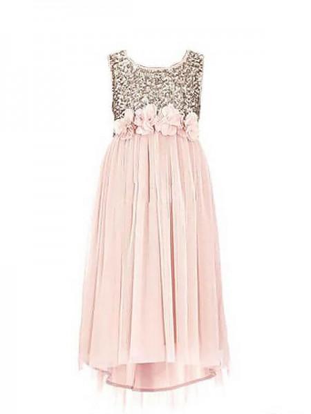 A-line/Princess Scoop Sequin Chiffon Floor-Length Flower Girl Dress