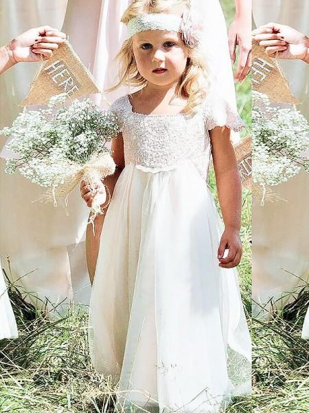 8e130a5459d A-line Princess Square Short Sleeves Lace Floor-Length Chiffon Flower Girl  Dresses