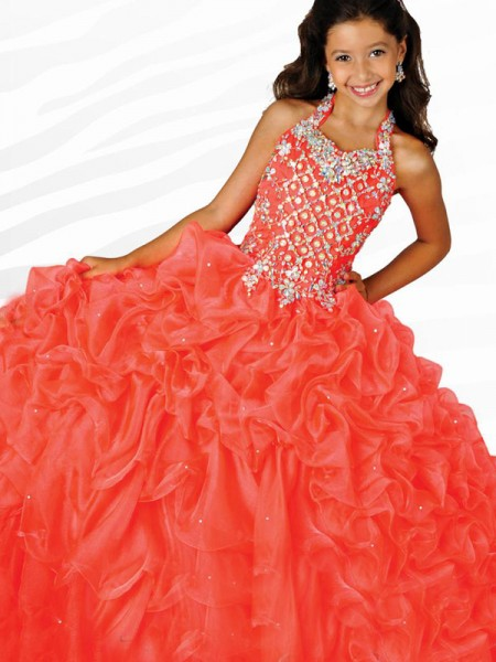 Ball Gown Halter Beading Flower Girl Dress with Organza