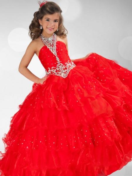 Ball Gown Halter Sequin Rhinestone Flower Girl Dress with Organza