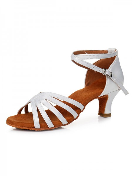 Women's Satin Peep Toe Cone Heel Buckle Sandals