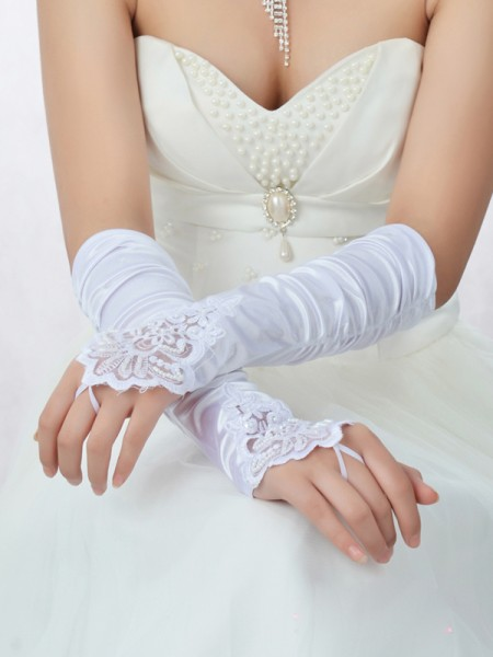 Lace Satin Wedding Gloves IDRESS913