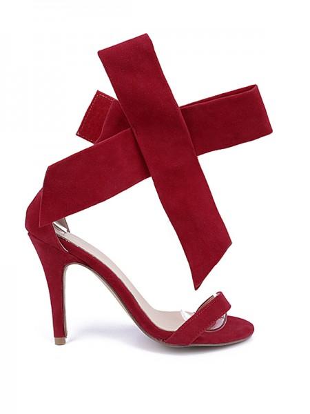 Suede Peep Toe High Heels S5MA04116LF