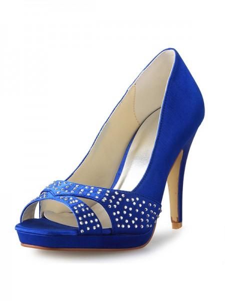 Cone Peep Toe Satin High Heels SW0855661I