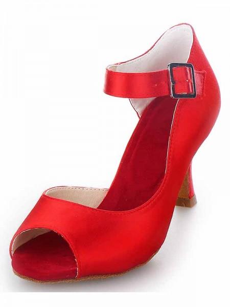 Satin Peep Toe Spool High Heels SW115Y205121I