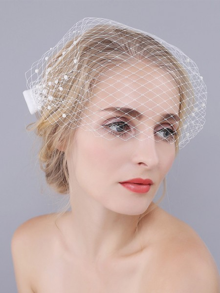 Birdcage Veils One-tier With Imitation Pearls