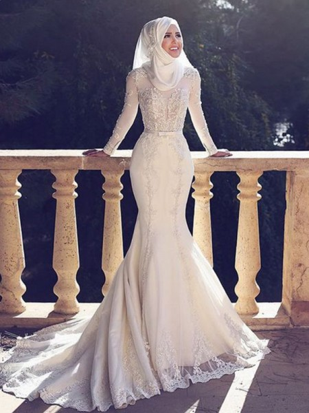 Trumpet/Mermaid Jewel Long Sleeves Sweep/Brush Train Lace Tulle Wedding Dresses