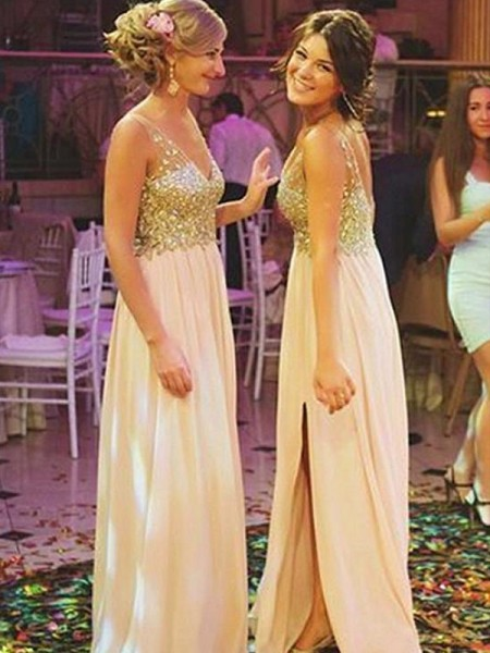 A-Line/Princess V-neck Sleeveless Floor-Length Chiffon Bridesmaid Dresses