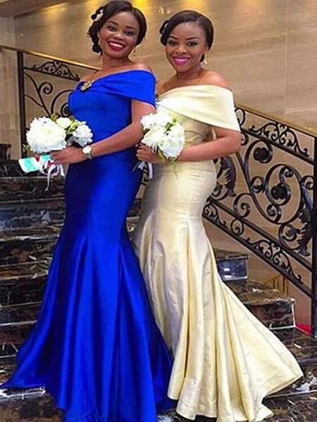 Trumpet/Mermaid Sleeveless Off-the-Shoulder Floor-Length Satin Bridesmaid Dresses