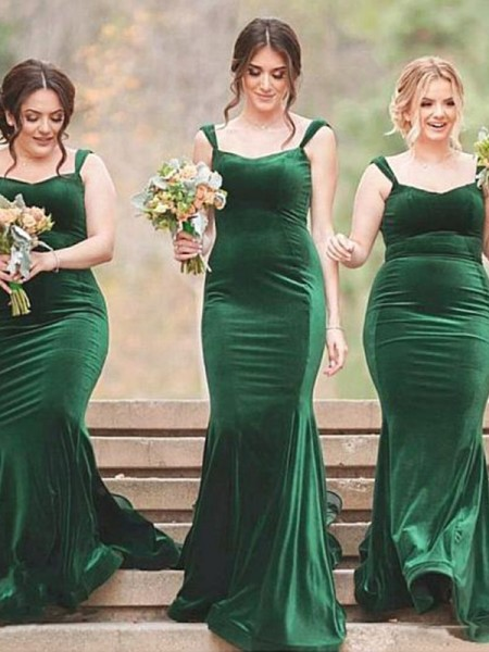 Sheath/Column Spaghetti Straps Sweep/Brush Train Sleeveless Velvet Bridesmaid Dresses