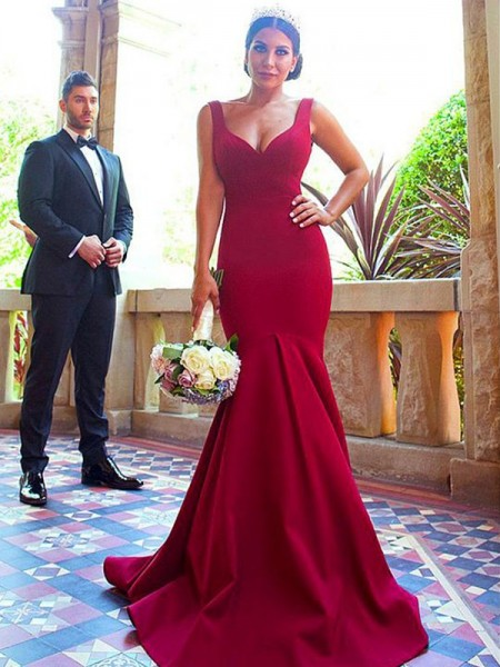 Trumpet/Mermaid V-neck Sleeveless Sweep/Brush Train Elastic Woven Satin Bridesmaid Dresses
