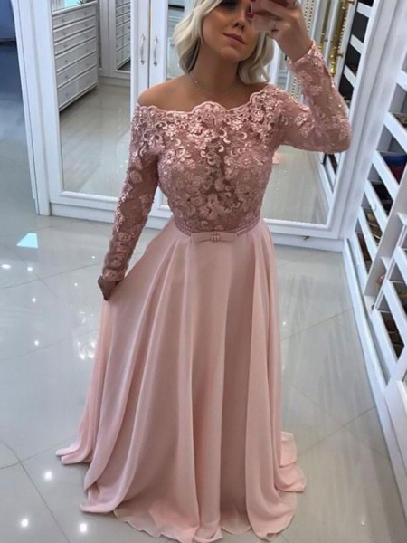 A-Line/Princess Bateau Long Sleeves Floor-Length Chiffon Dresses