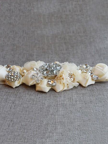 Beautiful Satin Sashes With Rhinestones/Imitation Pearls