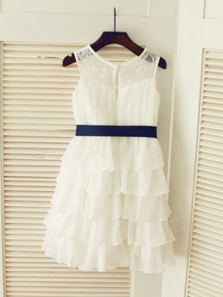A-line/Princess Sleeveless Scoop Ruched Long Chiffon Dresses