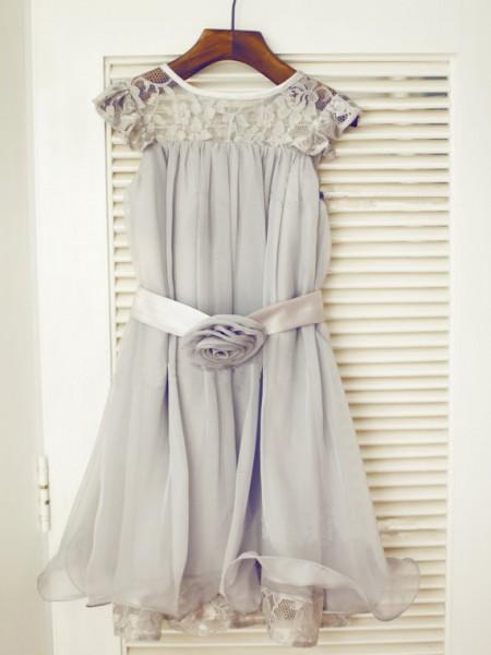 A-line/Princess Sleeveless Scoop Lace Long Chiffon Dresses