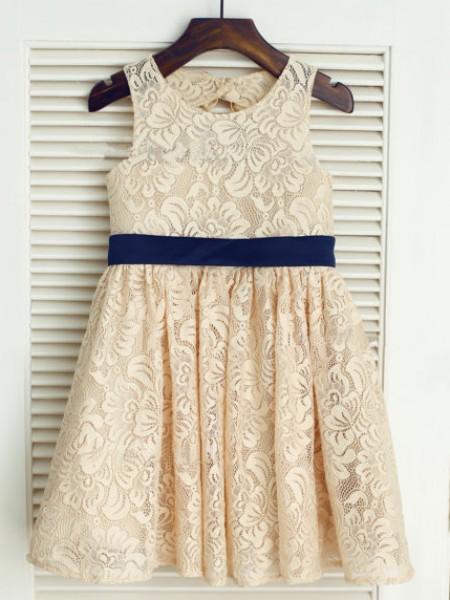A-line/Princess Sleeveless Scoop Bowknot Long Lace Dresses