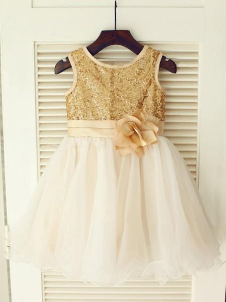 A-line/Princess Sleeveless Scoop Sequin Knee-Length Organza Dresses