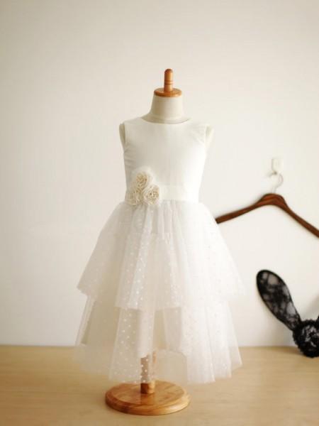 A-line/Princess Jewel Sleeveless Hand-Made Flower Long Tulle Dresses