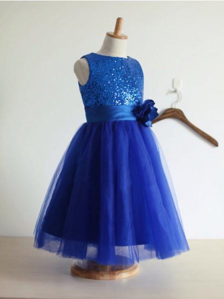 A-line/Princess Jewel Sleeveless Hand-Made Flower Tulle Tea-Length Dresses