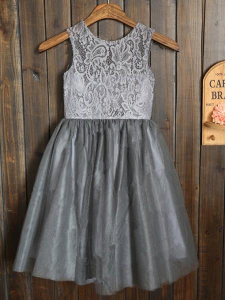 A-line/Princess Sleeveless Scoop Tulle Long Dresses