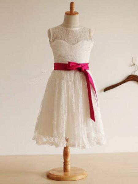 Jewel A-line/Princess Sleeveless Long Lace Dresses