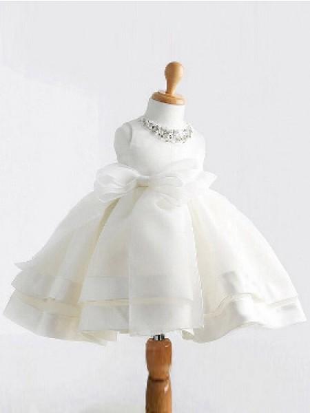 Ball Gown Jewel Sleeveless Bowknot Long Satin Dresses