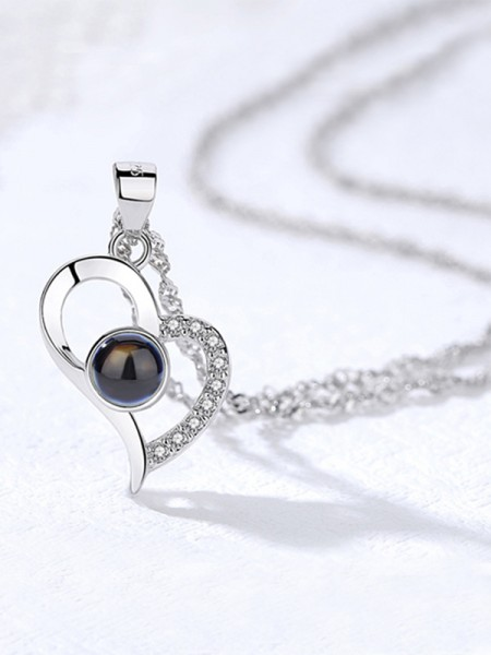 Romantic S925 Silver With Rhinestone Necklaces For Women