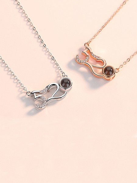 Unique S925 Silver With Rhinestone Necklaces For Ladies