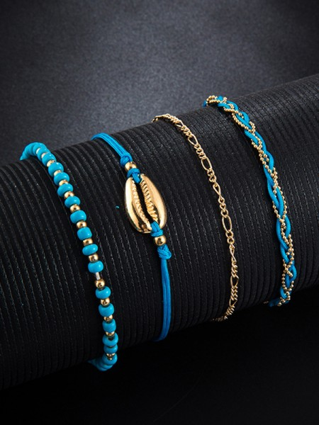 Particular Shell Alloy Anklets(4 Pieces)