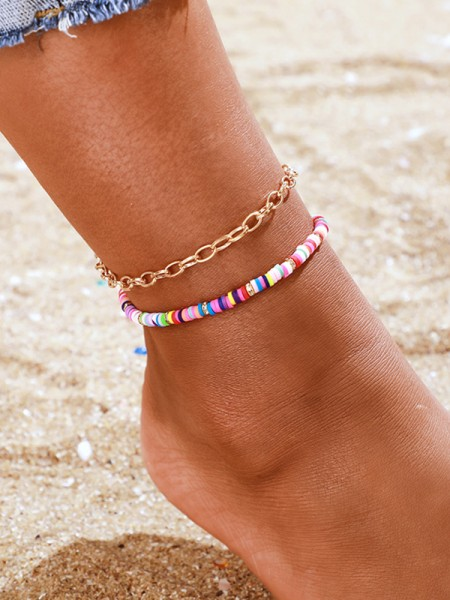Splendid Color Ring Alloy Anklets(2 Pieces)